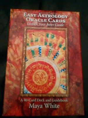 Easy Astrology Oracle Cards Maya White 40 Card Deck and Guidebook