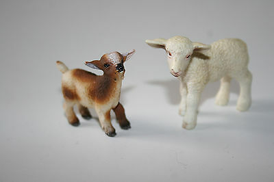"NEW SHLEICH baby sheep & goat figurines.White 2"" H, 2"" L.Brown/multi 1.5"" H,1.5"""