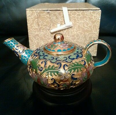 Chinese Metal Enamel Cloisonne Miniature Tea Pot on Wooden Stand boxed