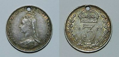 Great Britain :  Queen Victoria Silver Threepence 1887