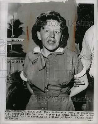 1955 Press Photo Antionette Lutz, Arrested for Shooting Police Officer, Miami