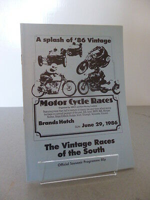 Brands Hatch Vintage Race of the South Road Race Programme 29th June 1986