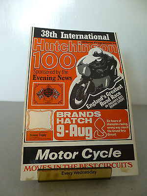 Brands Hatch Hutchinson 100 Motor Racing Cycle Road Race Programme 9th Aug 1970