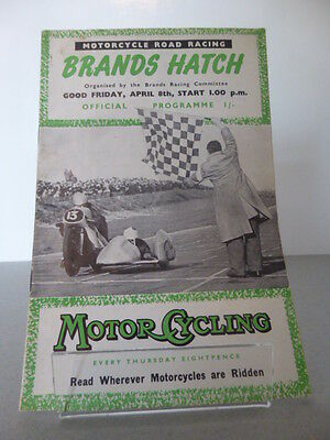 Brands Hatch Good Friday Motor Racing Cycle Road Race Programme 8th April 1955