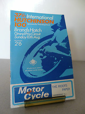 Brands Hatch Hutchinson 100 Motor Racing Cycle Road Race Programme 10th Aug 1969
