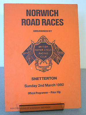 Shetterton BMCRC Norwich Motor Cycle Road Race Programme 2nd March 1980