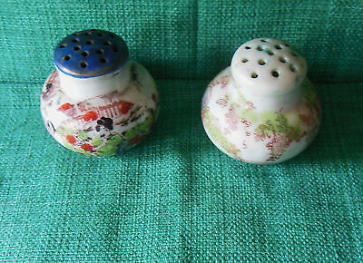 Two Antique Japanese Salt & Pepper Shakers