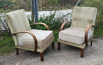 Pair 1950s Cloth & Bentwood Fireside Armchairs. For Recovering/ New Fabric