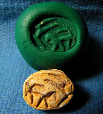 Early Iron Age Egypt / Judaea Scarab seal with Gazela and LION Archaeology.