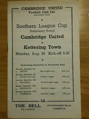 Cambridge United v Kettering 1960's with autograph
