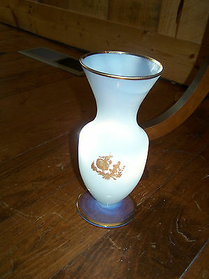 Vintage French Opaline Glass Vase Victorian Couple with Gold Trim