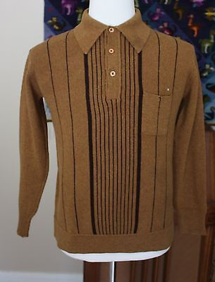 Vintage 1960s Brown Wool Collared Pullover Henley Sweater Striped Sz M Retro