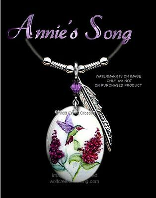 """Annies Song Hummingbird Necklace - Lovely Humming Bird Art Pendant 24"""" Leather"""
