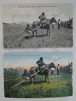 """2 SCARCE 1907 PHOTO POSTCARDS of NATIVE AMERICANS:  """"OLD TIME PIEGAN SQUAW with"""