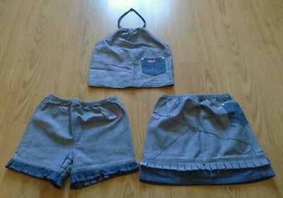 Ellesse Girls Grey & Blue Top, Shorts & Skirt Size 6-7 Years