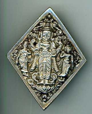 UNMARKED SILVER INDIAN BROOCH prob. a conversion. SHOWS GODDESSES
