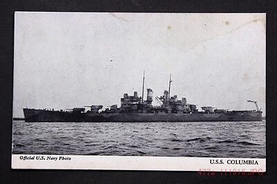 c.1920 Postcard Sized Card Official U.S. Navy Photo Showing the U.S.S. Columbia