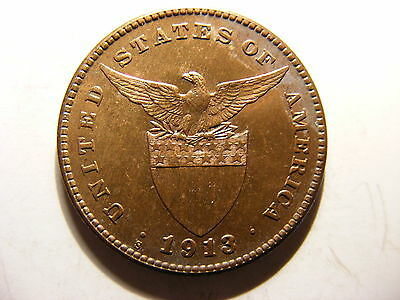 Philippines Centavo, 1913-S, Close to FULL RED Uncirculated