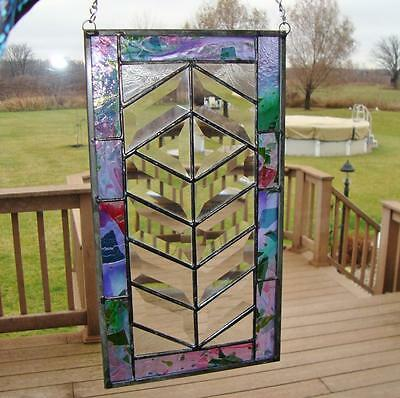 Vintage Stained Glass Hanging Panel Leaded Beveled Glass 7x13 wSalvage Piece