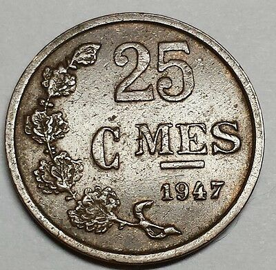 Luxembourg 1947 Twenty Five Centimes coin Charlotte No Reserve KM #298