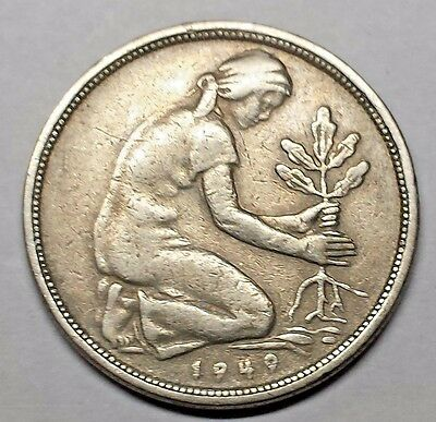 Germany 1949-F Fifty Pfennig coin No Reserve KM #104