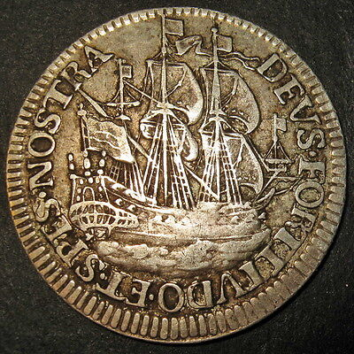 COA 1678 Dutch Colonial New York Silver Ship Shilling 3 masted, lion penis varie