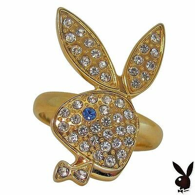 Playboy Ring Bunny Swarovski Crystals Gold Plated Adjustable Size 5.5 to 9 RARE