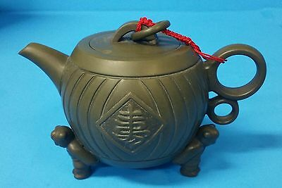 Small Asian Terra Cotta Teapot With ASIAN MEN Marked