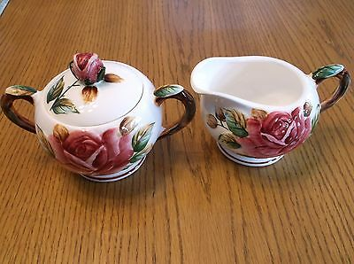 Hand Painted Regal Rose PY6970 Covered Sugar Bowl and Creamer ESD Japan
