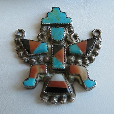 Old Zuni sterling silver turquoise onyx spiney oyster knifewing pendant