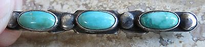 Old sterling silver Fred Harvey 3 turquoise stone stick pin