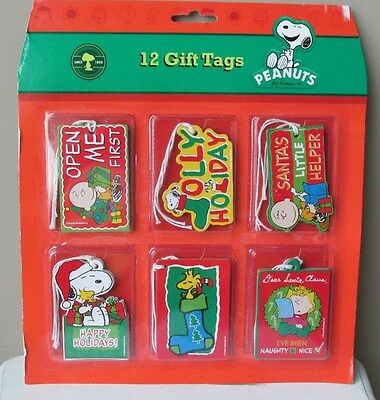 Snoopy Peanuts Christmas Cards Gift Name Tags New Set of 12 Sturdy Charlie Brown