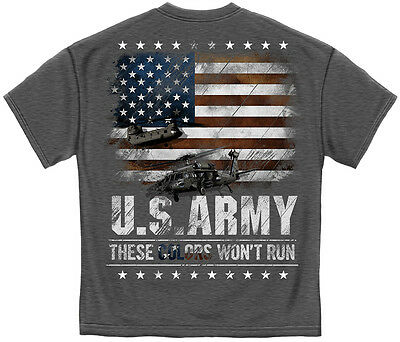 Gray T-Shirt with Army and Flag These Colors Won't Run design