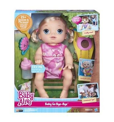 Baby Alive Baby Go Bye Bye Blonde Speech and Sound Crawls for Girls Toddlers New
