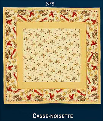 Jules Pansu France Tapestry Throw 57x57 Squirrels  Nature Cotton/Poly Ivory Gold
