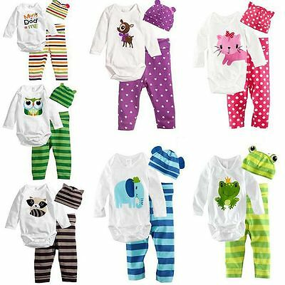 3pcs Baby Boys Girls Hat+Romper+Pants Trousers Outfits Clothes Toddler Bodysuit