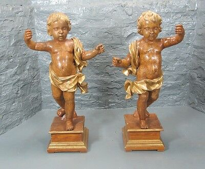 "Fine & Large 46"" Pair of 19th C. ITALIAN CARVED WOOD Putti Sculptures  c. 1860"