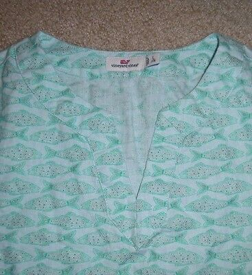 VINEYARD VINES   Pool Cover UP Perfect  RESORT sz 14 MINT! Fish Print LINEN