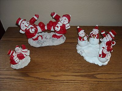 snowman winter christmas decoration decor lot set snow tea light red white