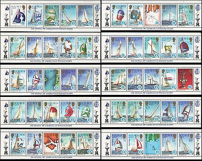 Solomon Islands #570-574 MNH strips of 5, 1987 America's Cup