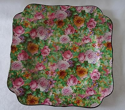 CROWN DUCAL vintage CHINTZ Square Plate PINK floral
