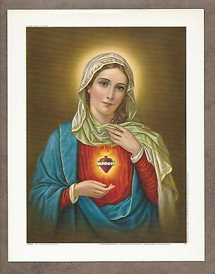 """Catholic Print Picture IMMACULATE HEART of MARY 6 1/2 x 8 1/4"""""""