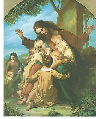 """Catholic Print Picture JESUS with THE LITTLE CHILDREN  artist Vogel 8x10"""" Italy"""