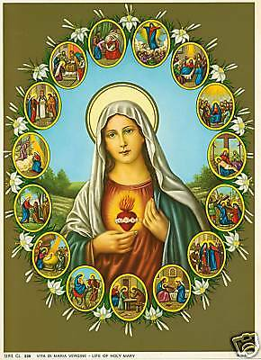 Catholic Print Picture LIFE OF BLESSED VIRGIN MARY - ready to frame