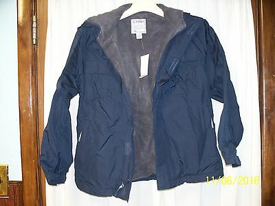 Boys Sz M Jacket NWT Old Navy Blue Winter with fleece lining zip front water res