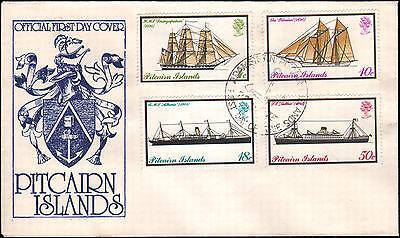 Pitcairn Islands #147-150 FDC, ships, 1975