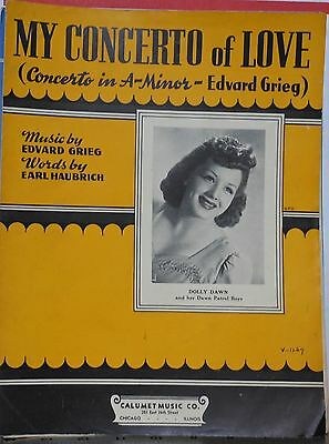 My Concerto Of Love - sheet music -1942 - Dolly Dawn photo cover