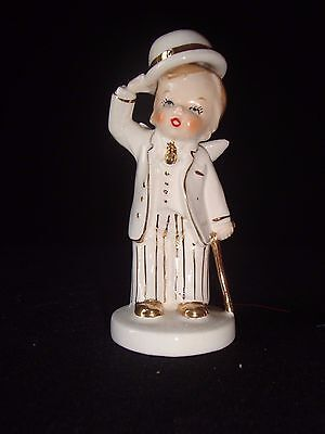 Vintage Napco Beautiful Angel Boy with Top Hat & Cane B#5