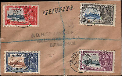 Swaziland #20-23 Bremersdorp to Birmingham, 1936, registered