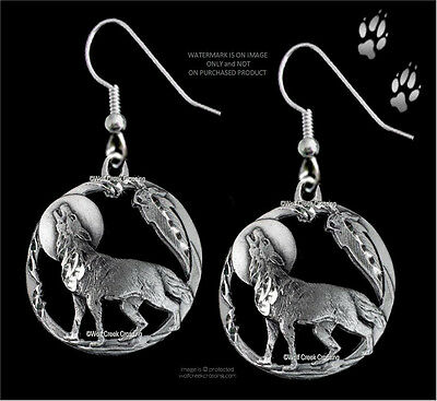 Moon Shadow Wolf Earrings - Diamond Cut Wolves Moon Eagle Feather - Free Ship